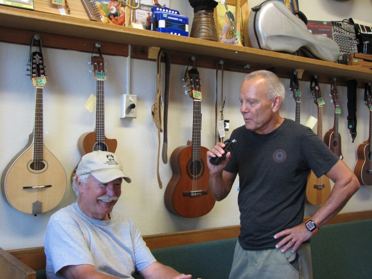 Interviewing Kootenay Co-op Radio Liner Notes host Jim Van Horn, at Instruments of Change in Kaslo